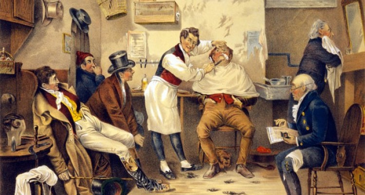 Illustation of a nineteenth-century barber shop and why barber colleges were created