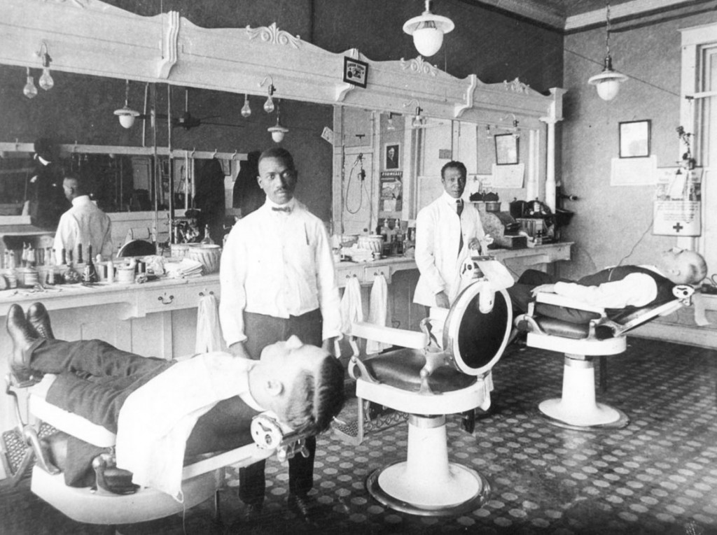 The Arthur Anderson Barber Shop in Mattoon, Illinois, which only served white customers circa 1920